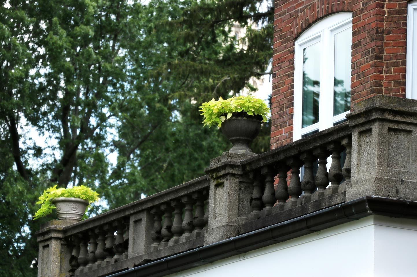 Detailed view of the upper porch spindles